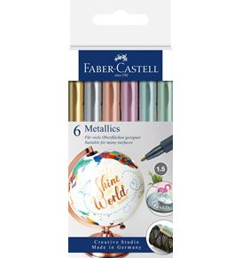 Faber-Castell - Metallics Marker, blister con 6 colores