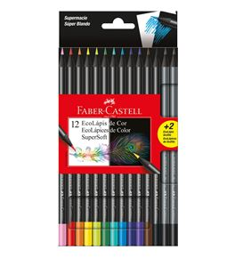 Faber-Castell - 12 EcoLápices de color SuperSoft + 2 EcoLápices de grafito